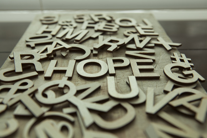 Hope spelled out in wood letters
